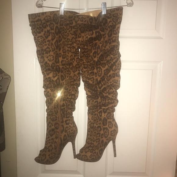 c27962f2dca Thigh high leopard print peep toe boots